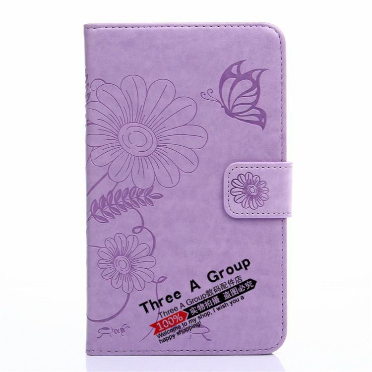 galaxy tab a 7 0 2016 case with butterfly picture and card slots purple: