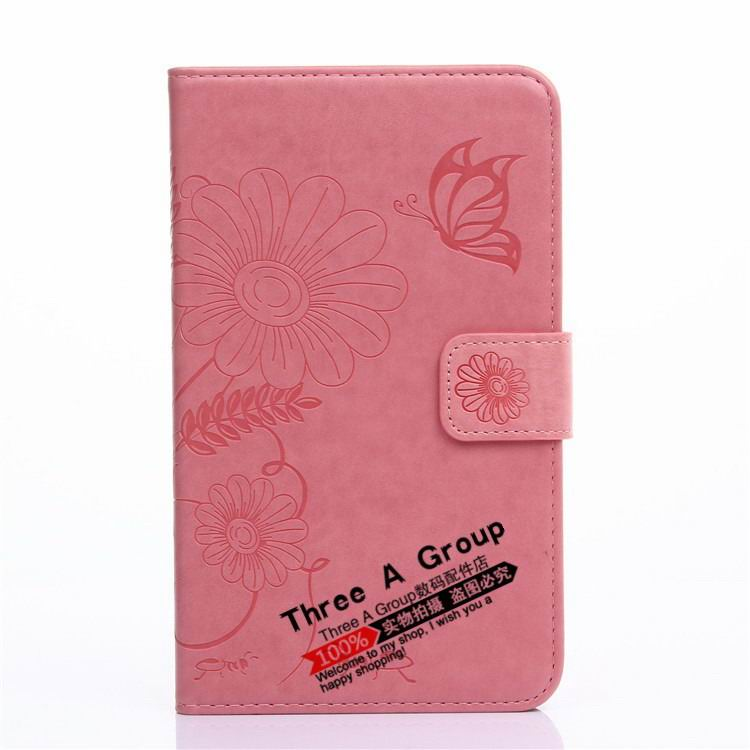 galaxy tab a 7 0 2016 case with butterfly picture and card slots pink: