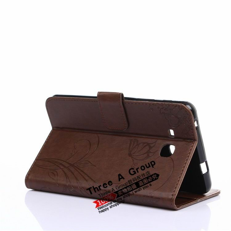 galaxy tab a 7 0 2016 case with butterfly picture and card slots brown: