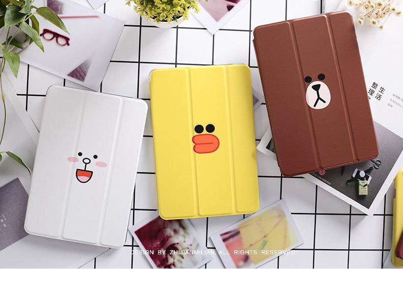ipad pro 9 inch case with cartoon pictures of bears strawberry duck and other