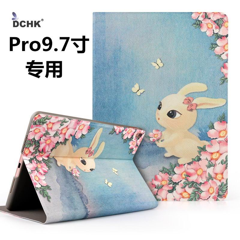 ipad pro 9 inch case with cute illustrations of rabbit cat and bear flower small cute rabbit: