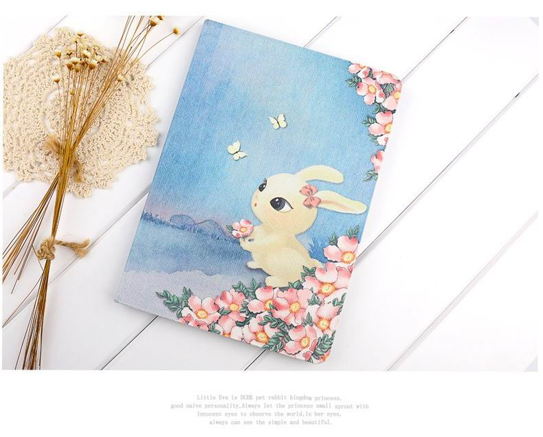 ipad pro 9 inch case with cute illustrations of rabbit cat and bear