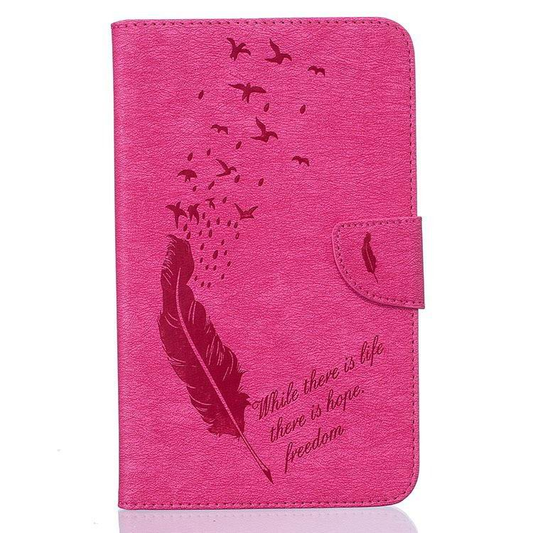 galaxy tab j case with pattern of feathers and birds