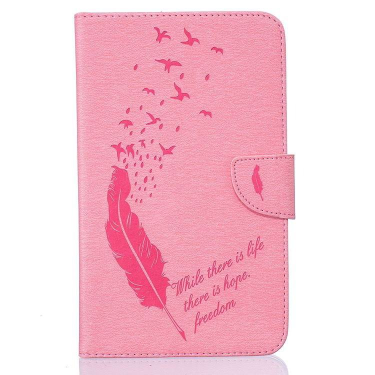 galaxy tab j case with pattern of feathers and birds Pink: