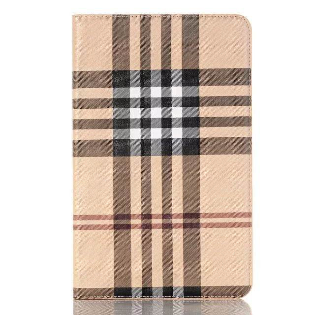 galaxy tab a 10 1 2016 case with plaid pattern and card slots beige: