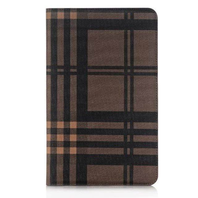 galaxy tab a 10 1 2016 case with plaid pattern and card slots brown: