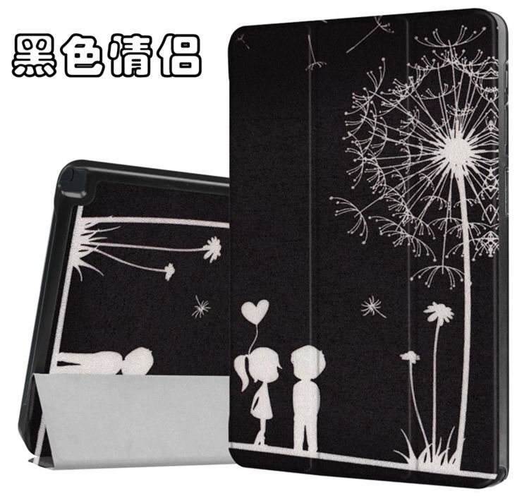 galaxy tab a 10 1 s pen 2016 case with stand and different illustrations 2 Black couple: