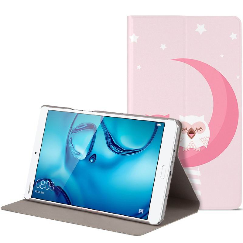 mediapad m3 cute bright case with a picture of owl love and other pink owl couple: