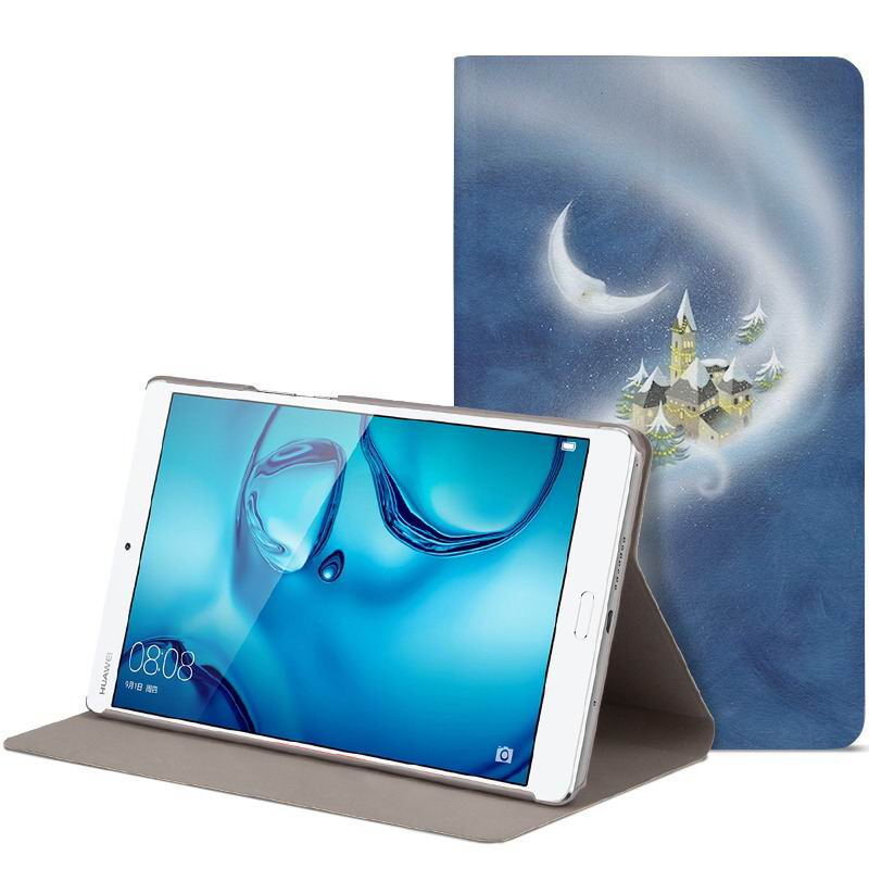 mediapad m3 cute bright case with a picture of owl love and other fairy tale Castle: