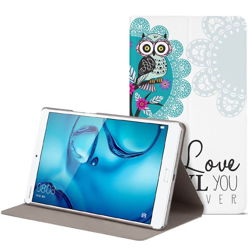 mediapad m3 cute bright case with a picture of owl love and other love eternal owl: