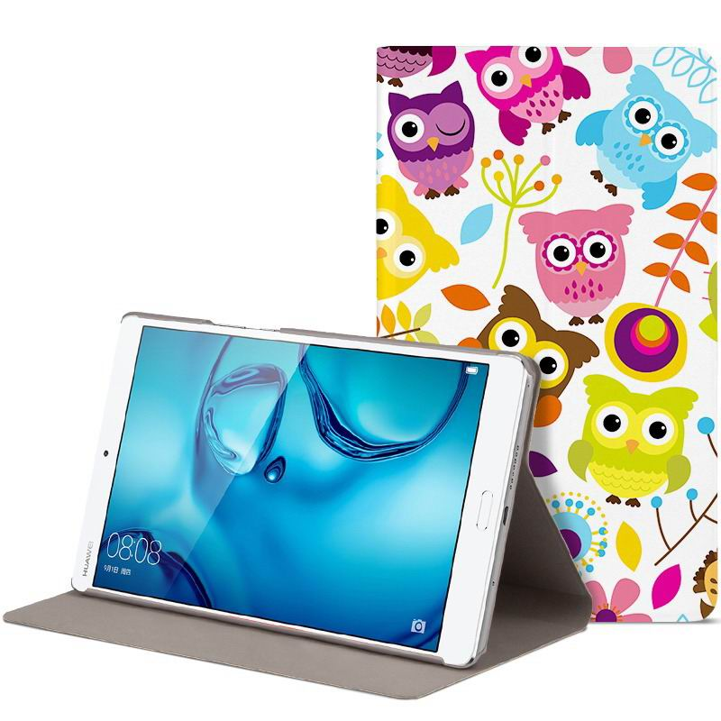 mediapad m3 cute bright case with a picture of owl love and other colorful owl: