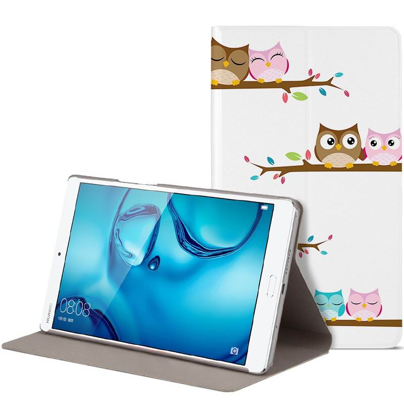 mediapad m3 cute bright case with a picture of owl love and other step-by-step love: