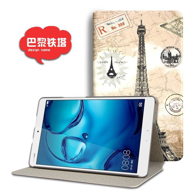 mediapad m3 cute case with cartoon heroes and different pictures Eiffel Tower: