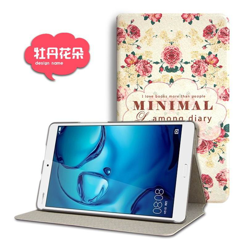 mediapad m3 cute case with cartoon heroes and different pictures Peony flower: