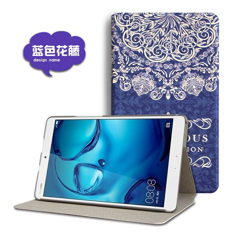 mediapad m3 cute case with cartoon heroes and different pictures Blue flower: