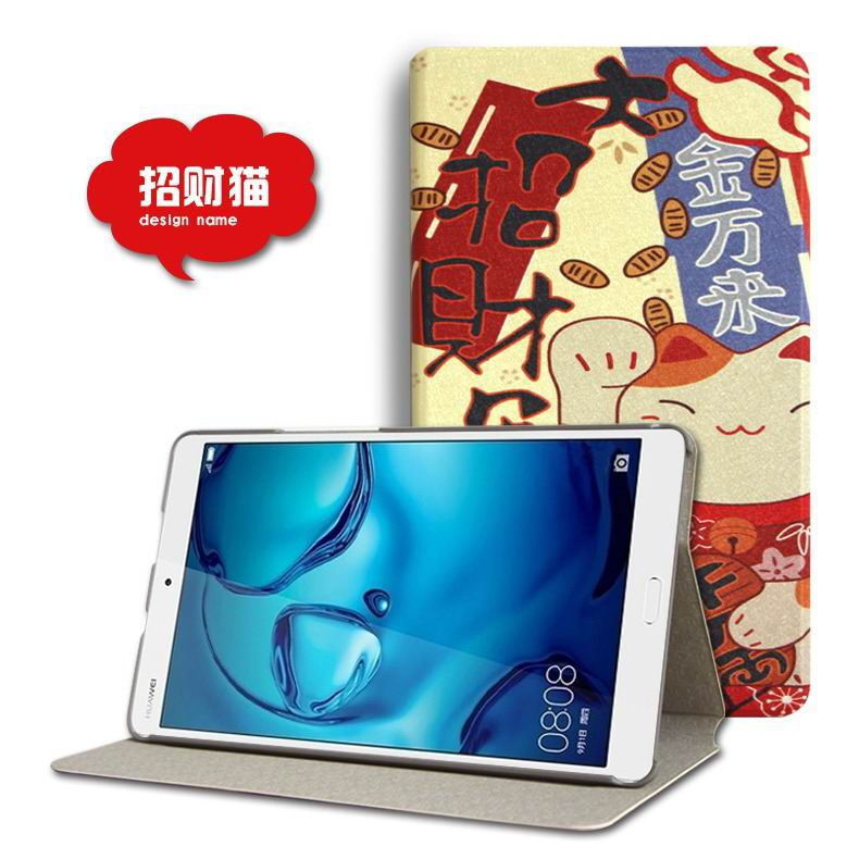 mediapad m3 cute case with cartoon heroes and different pictures Lucky cat: