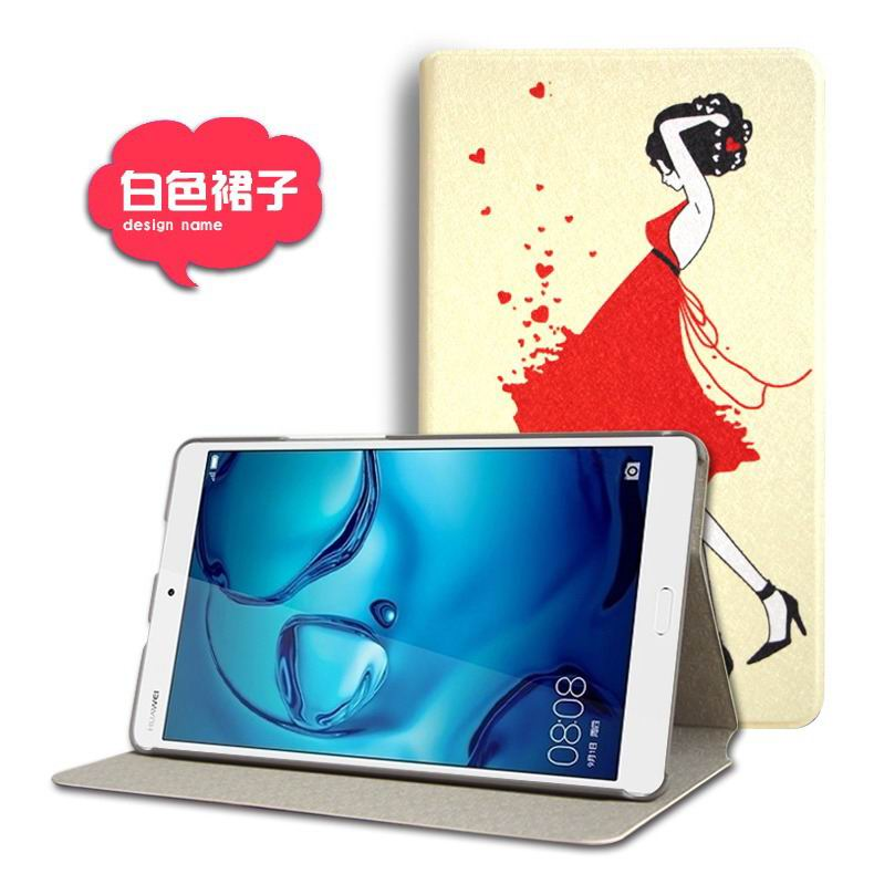 mediapad m3 cute case with cartoon heroes and different pictures White skirt: