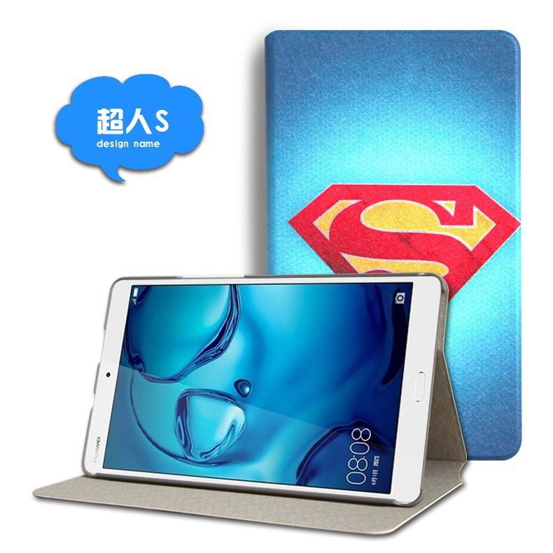 mediapad m3 cute case with cartoon heroes and different pictures Superman logo: