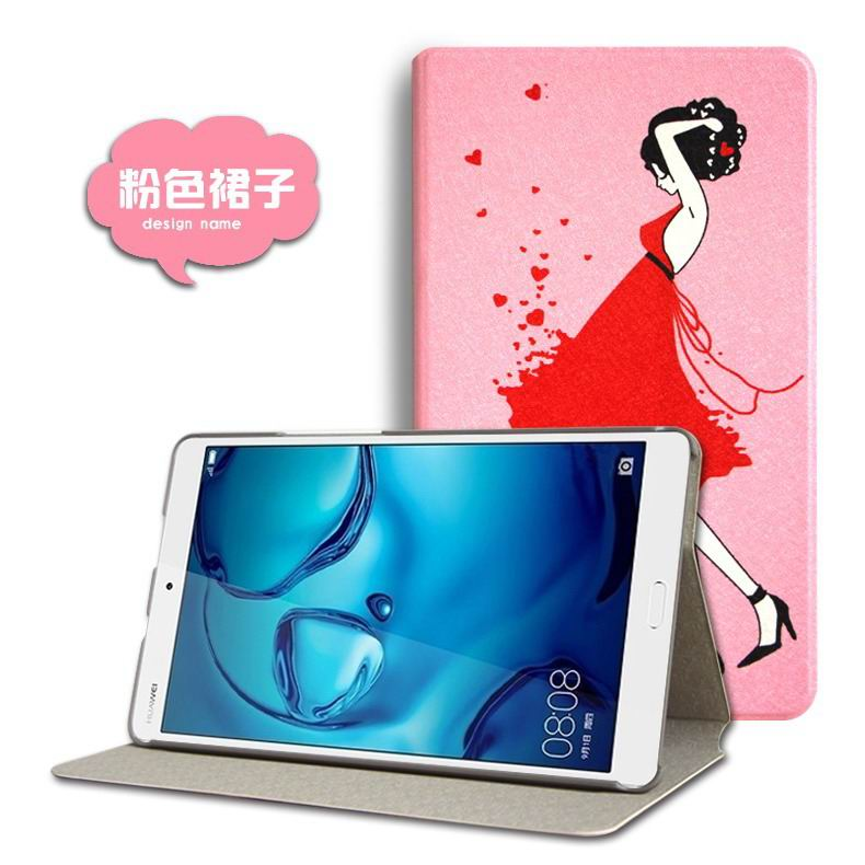 mediapad m3 cute case with cartoon heroes and different pictures Pink skirt: