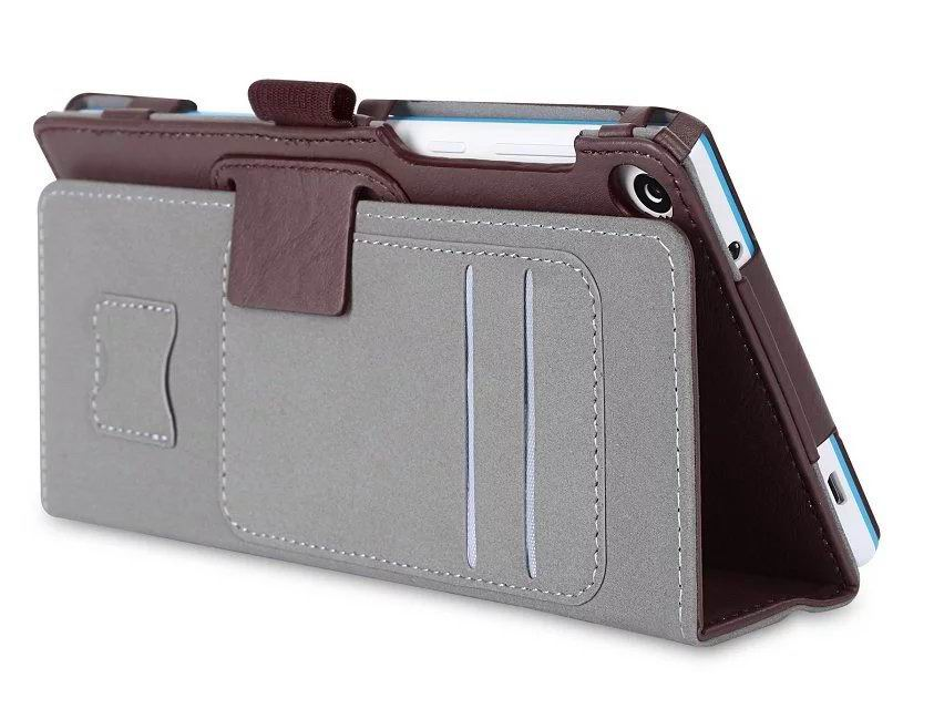 tab3 7 plain case with card slots and handle Brown: