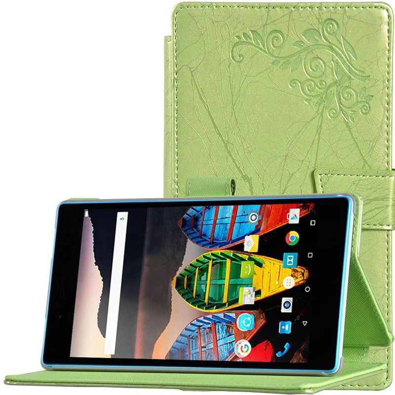 tab3 7 plain case with flower pattern Green: