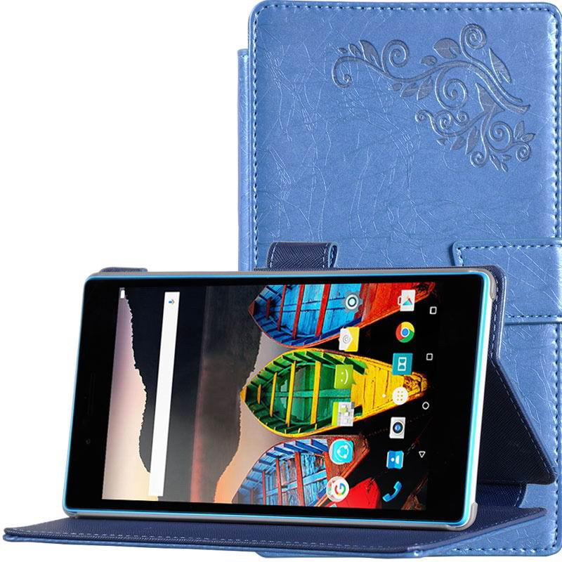 tab3 7 plain case with flower pattern Blue: