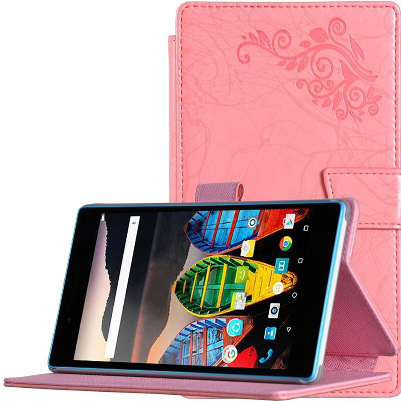 tab3 7 plain case with flower pattern Red:
