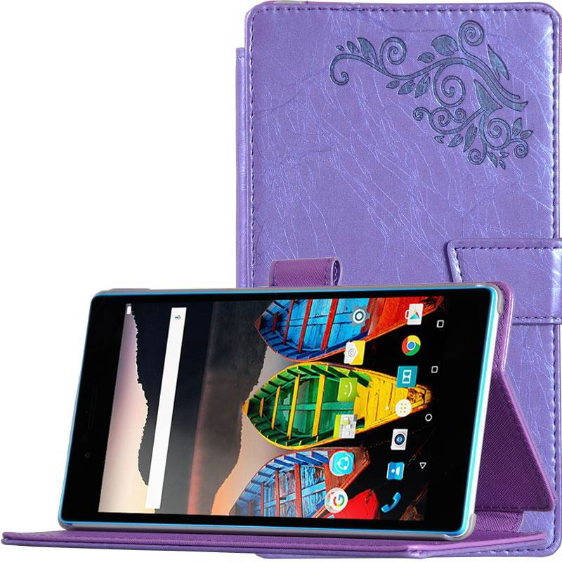 tab3 7 plain case with flower pattern Purple: