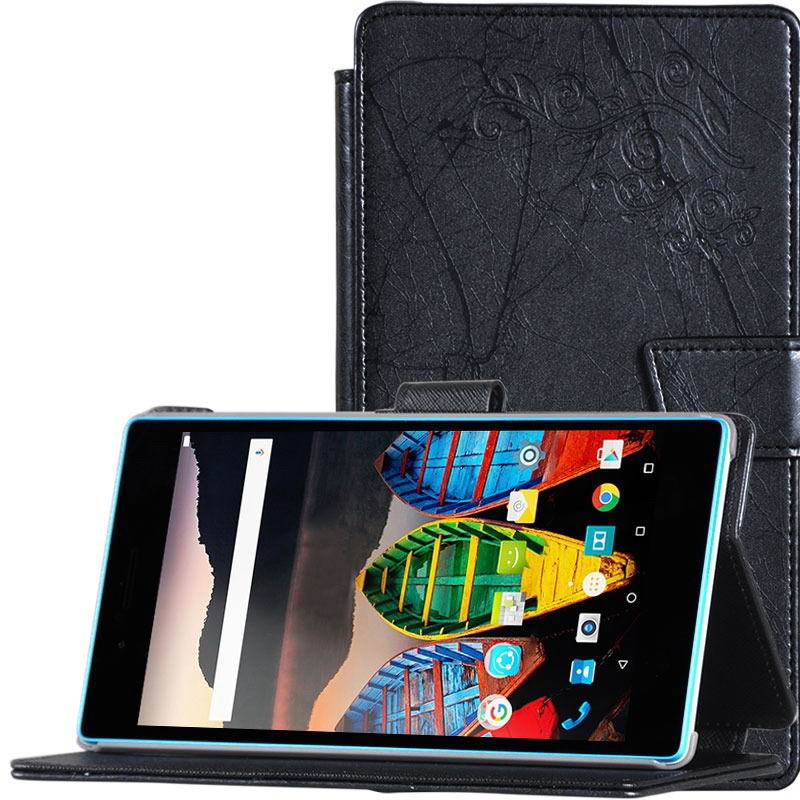 tab3 7 plain case with flower pattern Black: