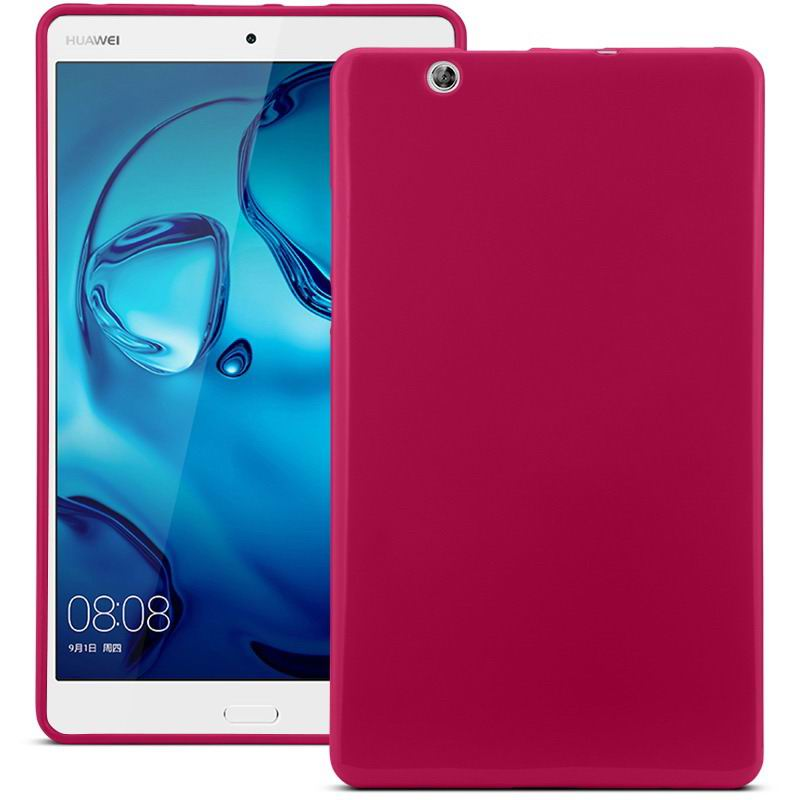 mediapad m3 silicone plain cover Red: