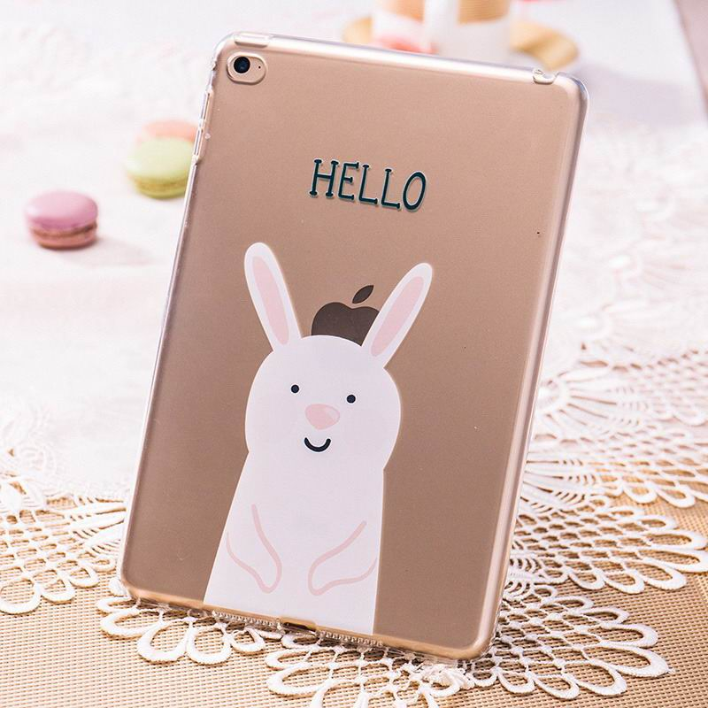 ipad pro 9 inch silicone transparent cover with cute pictures of rabbit or bear rabbit: