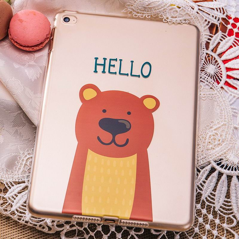 ipad pro 9 inch silicone transparent cover with cute pictures of rabbit or bear bear: