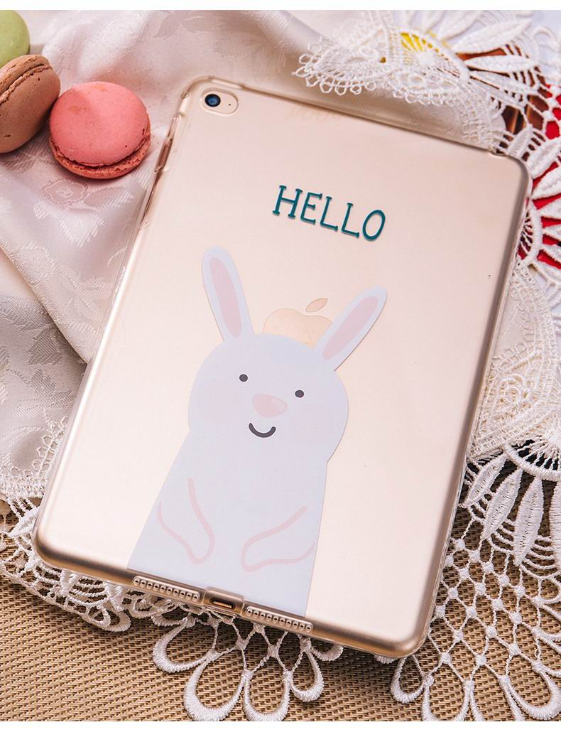 ipad pro 9 inch silicone transparent cover with cute pictures of rabbit or bear
