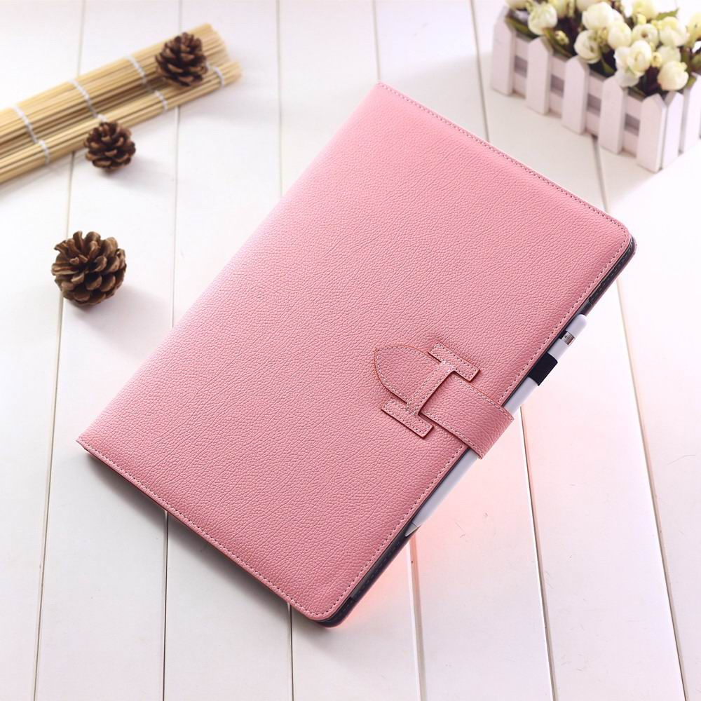 ipad pro 12 inch single colored case with handle and card section pink: