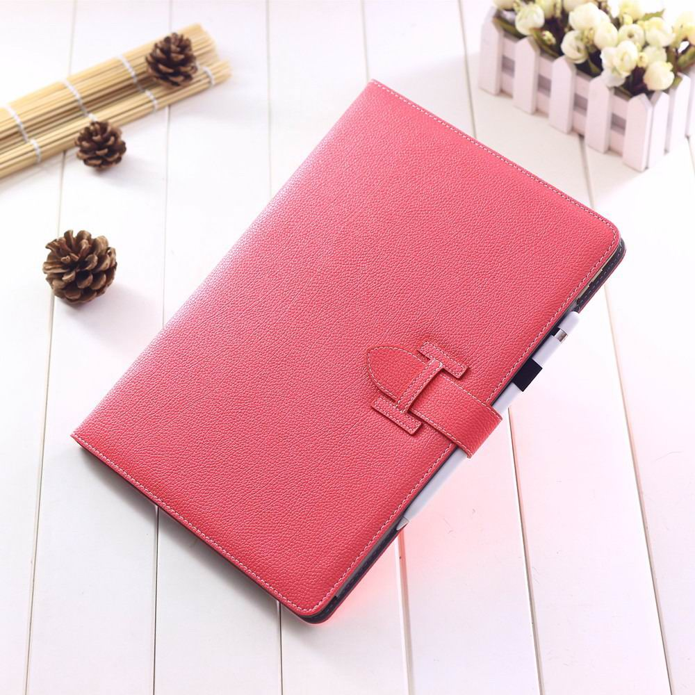 ipad pro 12 inch single colored case with handle and card section rose red: