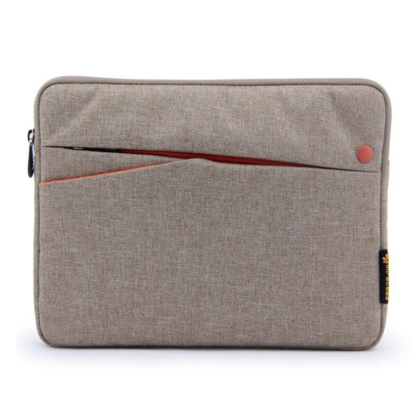 ipad pro 9 inch sleeve of fabric with zipper 2 gray with orange: