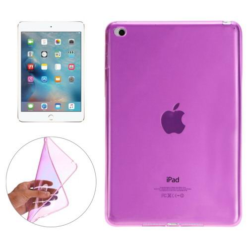 Transparent TPU cover with multicolor pattern for iPad Mini 4 Magenta color