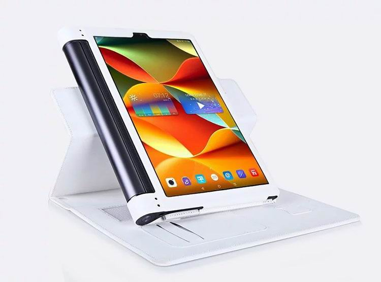 yoga tab 3 plus business case with wrist loop card holder and 360 stand White: