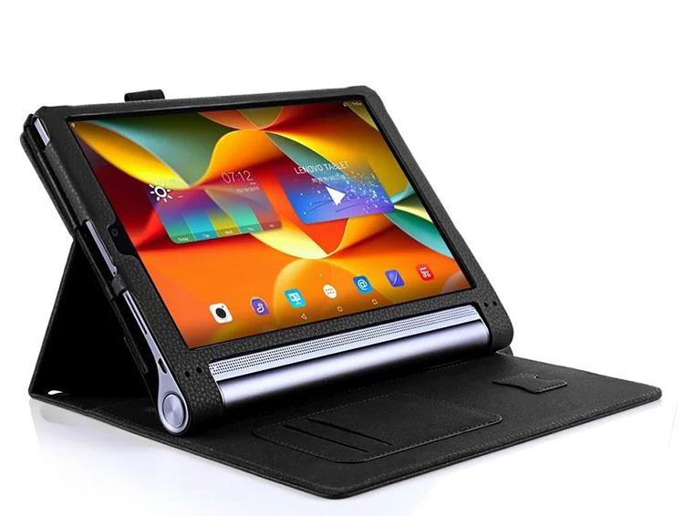 yoga tab 3 plus business case with wrist loop card holder and 360 stand