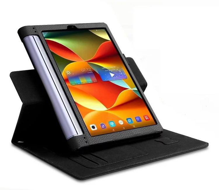 yoga tab 3 plus business case with wrist loop card holder and 360 stand Black:
