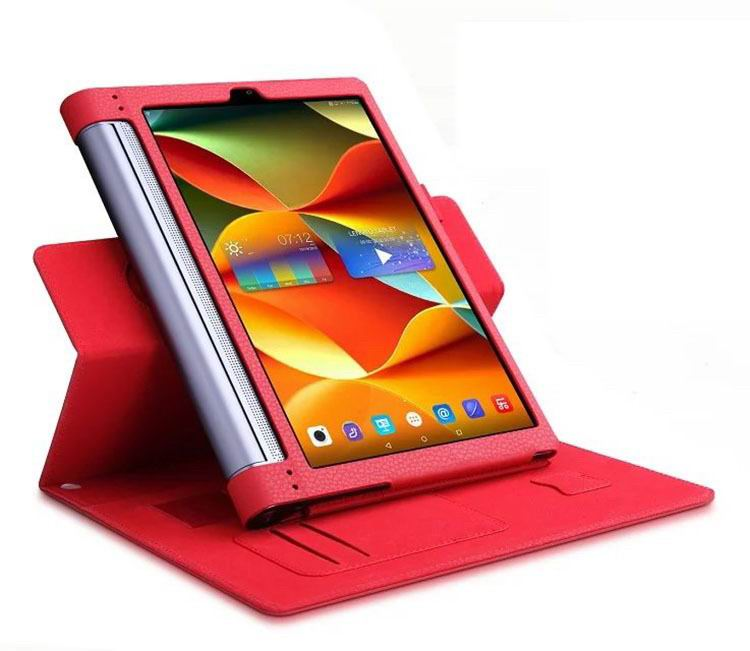 yoga tab 3 plus business case with wrist loop card holder and 360 stand Red: