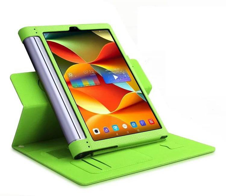 yoga tab 3 plus business case with wrist loop card holder and 360 stand Green: