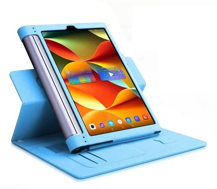 yoga tab 3 plus business case with wrist loop card holder and 360 stand Sky blue: