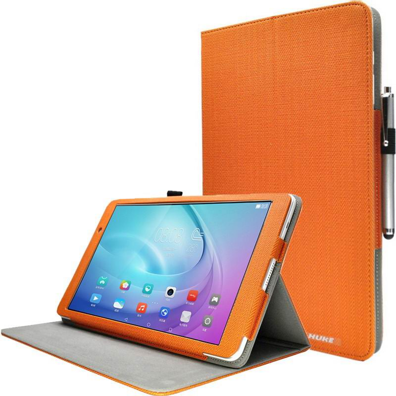 mediapad m2 10 huke business cases with string textile and ornament pattern Sun orange: