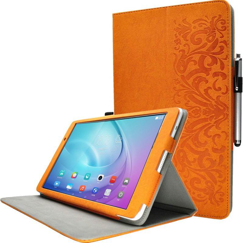 mediapad m2 10 huke business cases with string textile and ornament pattern Sun orange with ornament: