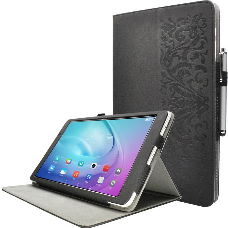 mediapad m2 10 huke business cases with string textile and ornament pattern Black Jade black:
