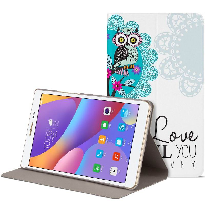 honor pad 2 romantic painted case with cute pictures of moon owl zebra Love eternal owl: