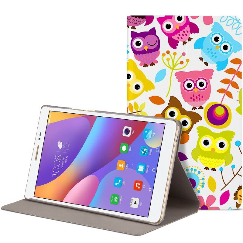 honor pad 2 romantic painted case with cute pictures of moon owl zebra Colorful owl: