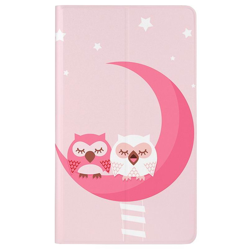 honor pad 2 romantic painted case with cute pictures of moon owl zebra Pink owl couple: