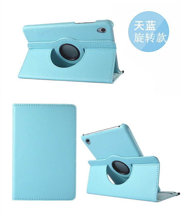 honor pad 2 solid color case with rotating stand and shell blue: